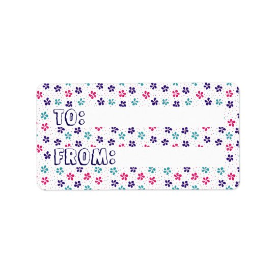 Flowers and Dots Pattern TO & FROM Sticker