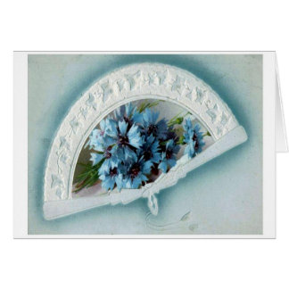 Flowers And Fan Blue Blank Greeting Card