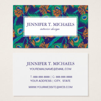Flowers And Feathers | Monogram Business Card