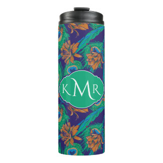 Flowers And Feathers | Monogram Thermal Tumbler