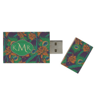 Flowers And Feathers | Monogram Wood USB 2.0 Flash Drive
