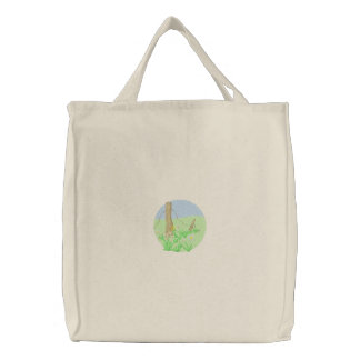 Flowers and Fence Embroidered Bag