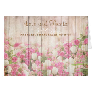 Flowers and Fence Wedding Thank You Note Card