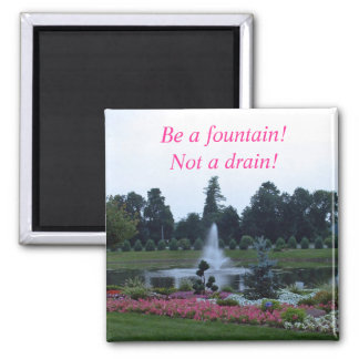 Flowers and fountain, be a fountain not a drain! square magnet
