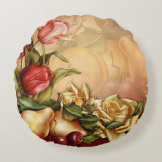 Flowers and Fruit Round Pillow