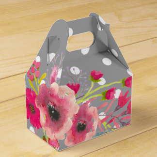 Flowers and grey polka dot cute modern glamour party favour box