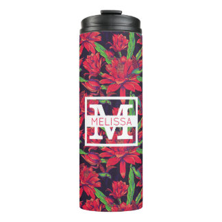 Flowers And Hummingbirds | Add Your Name Thermal Tumbler