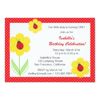 Flowers and ladybug birthday party invitations