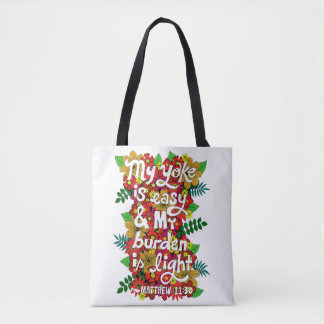 Flowers And Leaves Doodle Typography Bible Verse Tote Bag