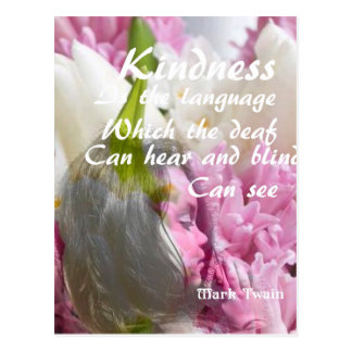 Flowers and message about kindness. postcard