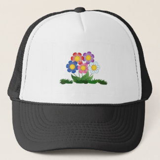 flowers and painting trucker hat
