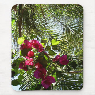 Flowers and Palm Tree Mouse Pad