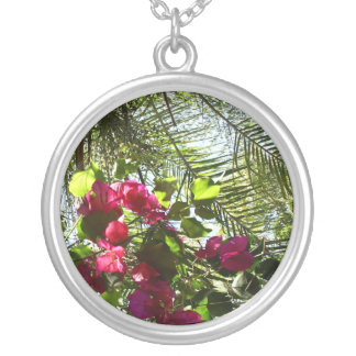 Flowers and Palm Tree Round Pendant Necklace
