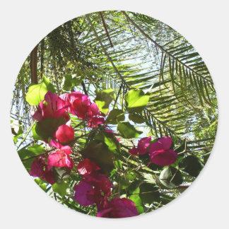 Flowers and Palm Tree Round Sticker