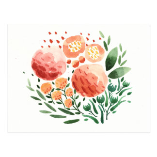 Flowers and Patterns Watercolor Postcard