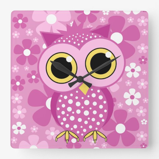 flowers and pink owl wallclocks
