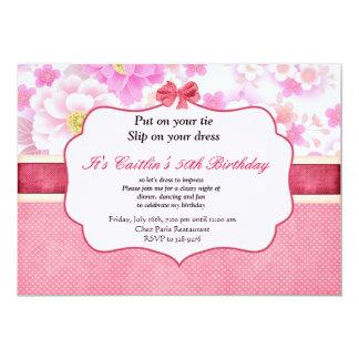 Flowers and Polka Dot Women's Birthday Invitation