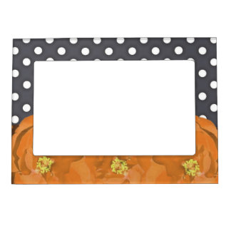 Flowers and polka dots magnetic picture frame