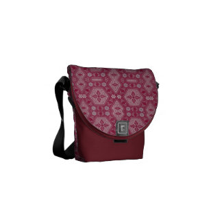 Flowers and Shapes in Raspberry Red Messenger Bags