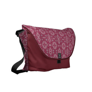 Flowers and Shapes in Raspberry Red Courier Bag