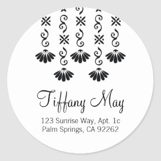 Flowers and Sparkles address labels Round Sticker