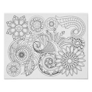 Flowers and Spirals : DIY Coloring Poster