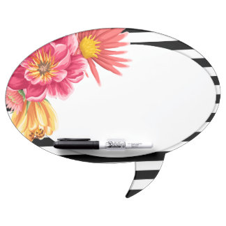 Flowers and Stripes Speech Bubble Message Board Dry-Erase Whiteboards