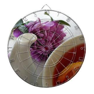 flowers and tea dart board