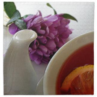 flowers and tea napkin