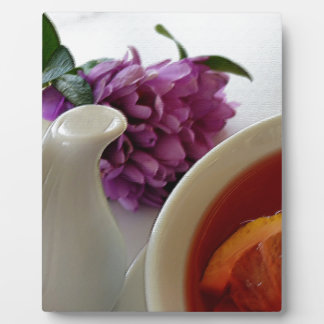 flowers and tea plaque