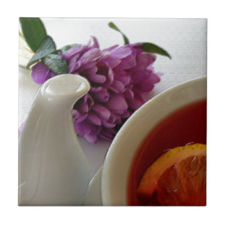 flowers and tea small square tile