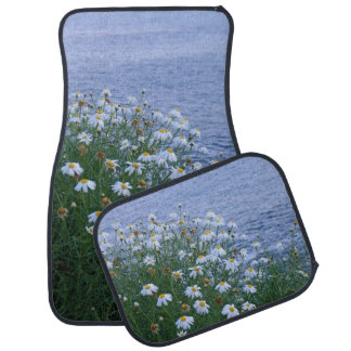 Flowers and the ocean car mat
