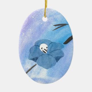 Flowers And Tiny Skull Ceramic Ornament
