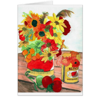 Flowers and Tomatoes Blank Greeting Card