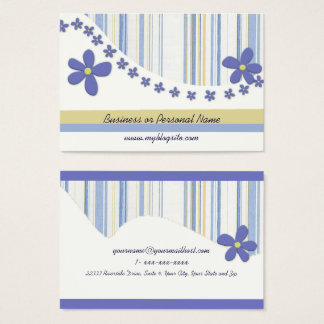 Flowers and Torn Blue Stripes Business Card
