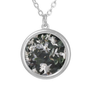 Flowers and unicorns silver plated necklace
