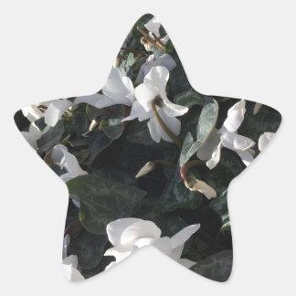 Flowers and unicorns star sticker