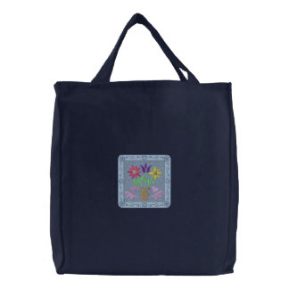 Flowers and Vase Embroidered Tote Bag