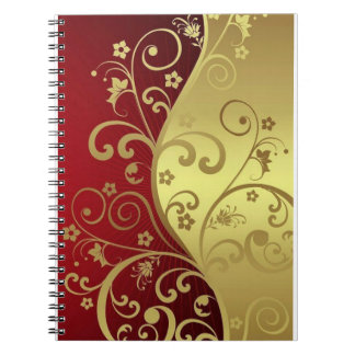 Flowers and vines on red and gold notebook