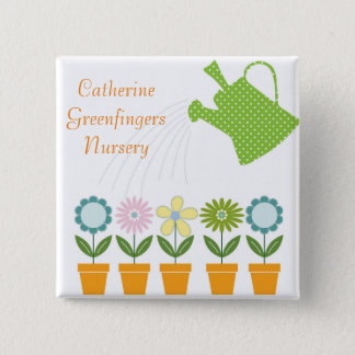 Flowers and Watering Can Gardening Fun 15 Cm Square Badge