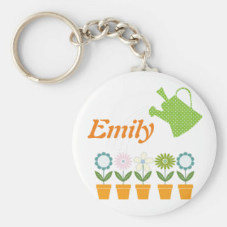 Flowers and Watering Can Gardening Fun Basic Round Button Key Ring
