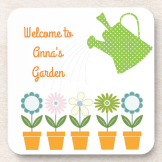 Flowers and Watering Can Gardening Fun Coasters