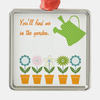 Flowers and Watering Can Gardening Fun Silver-Colored Square Decoration