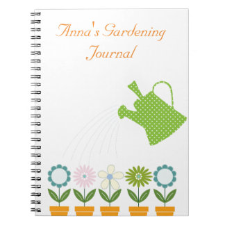 Flowers and Watering Can Gardening Fun Spiral Notebook