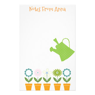 Flowers and Watering Can Gardening Fun Stationery