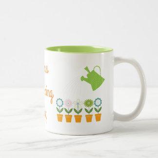 Flowers and Watering Can Gardening Fun Two-Tone Coffee Mug