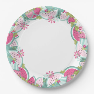 Flowers and Watermelons Paper Plate
