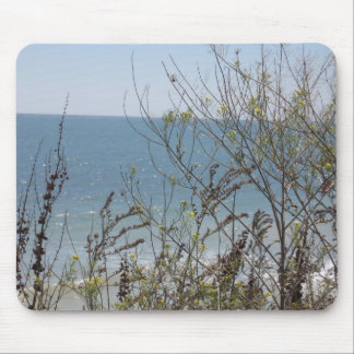 flowers and waves mouse pad