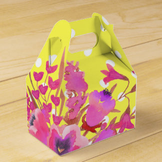 Flowers and yellow polka dots cute modern glamour favour box