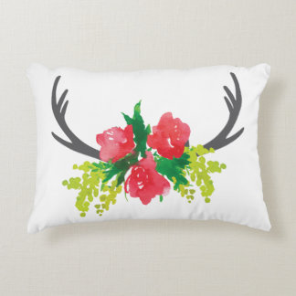 Flowers & Antler Accent Pillow